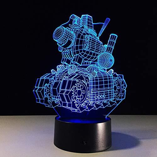 Lámpara 3D Tanque de máquina Lampara LED Bombilla de luz nocturna Novedad de dibujos animados Ambiente multicolor Iluminación de mesa Regalos de cumpleaños para niños