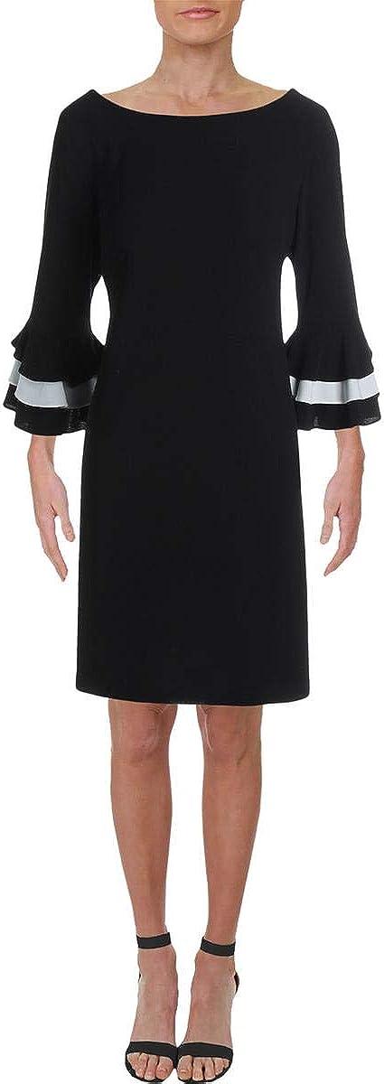 Gabby Skye Women's 3/4 Tier Sleeved Round Neck Crepe Shift Dress