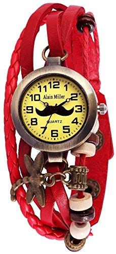 Alain Miller Damen Analog Quarz Uhr mit Leder Armband RP3705790005