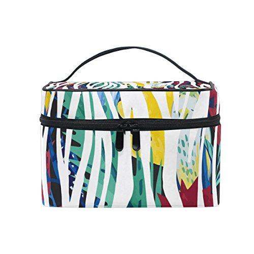 Coosun Abstract Zebra Cosmétique Sac en toile Trousse de toilette Poignée supérieure simple couche Maquillage Organiseur de sac multifonction Sac de maquillage pour femme