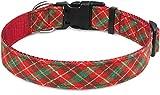 Taglory Collari per Cani di Natale, Collare Cane Regolabile per Cani di Piccola Taglia, Plaid Rossa & Verde