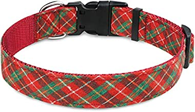 Taglory Dog Collars, Adjustable Classic Plaid Dog Collar with Quick Release Buckle for Medium Dogs
