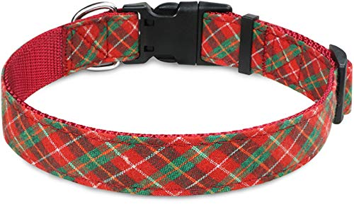 Taglory Collar Perro Navidad, Collar de Perro Mascota Ajustable para Perros Pequeño, Rojo & Verde