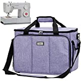 HOMEST Sewing Machine Carrying Case with Multiple Storage Pockets, Universal Tote Bag with Shoulder Strap Compatible with Most Standard Singer, Brother, Janome, Purple (Patent Design)