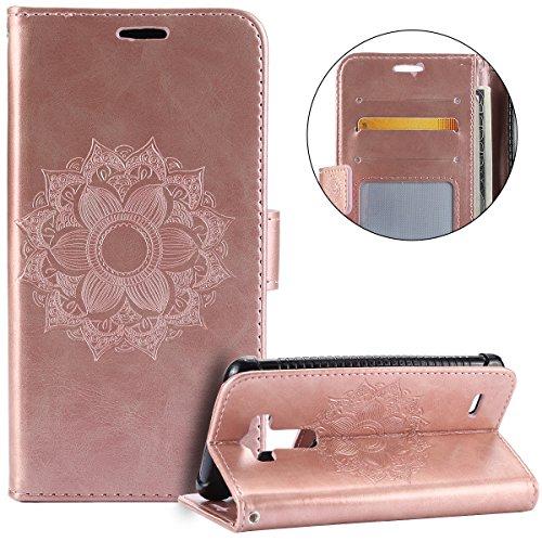 kompatibel mit LG G3 Hülle,LG G3 Lederhülle,Handyhülle LG G3 Tasche Leder Flip Case Brieftasche Etui Schutzhülle Wallet Case Kunstleder Tasche für LG G3,Rose Gold