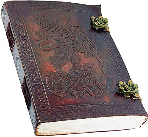 """Handmade Large 8"""" Embossed Leather Bound Journal Dragon with lock Genuine Brown Antique Old personal Diary notebook journal gift"""