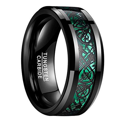Natur Fashion - Damen Herren Partner Ring aus Wolfram 8mm Schwarz-Grün mit Keltischen Drachen für Hochzeit Verlobung Geburtstag Größe 54