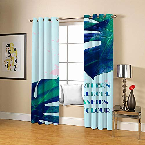 QHDIK Blackout Curtains Eyelet Thermal Insulated Draperies Room Darkening Super Soft Green leaf Patterns Printed Curtains for Living Room Bedroom Kids Room 2 Panels W46 x H72 inch