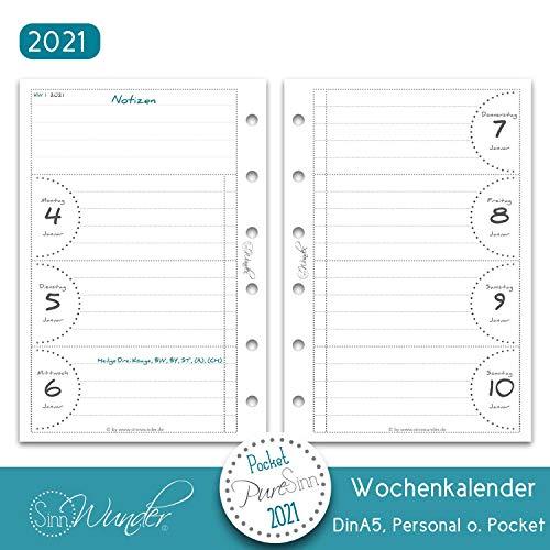SinnWunder® Premium-Kalendereinlagen - Wochenplan mit 1 Woche auf 2 Seiten - PureSinn (2021 - Pocket)