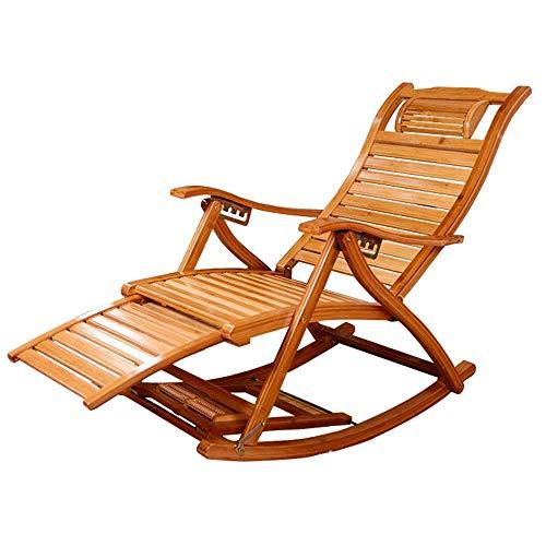 HUAXUE ZHXZHXMY Wohnmöbel - Klappstuhl Bambus Schaukelstuhl Verstellbarer Sonnenliege Balkon Ältere Lehnstuhl OutdoorGarden Stuhl