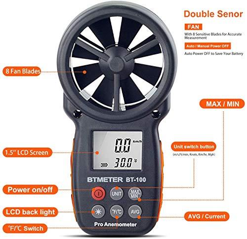 BTMETER BT-100 Anemómetro Termómetro Digital de Pantalla LCD Medidor de...