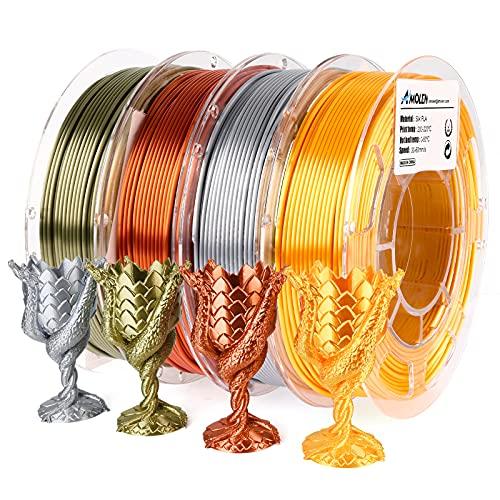 AMOLEN Filamento PLA 1.75, Filamento Stampante 3D Seta Lucente, Filamento Bronzo Seta, rame rosso, oro, argento, Materiale PLA Stampa 3D Silk Filamento, 200gx4