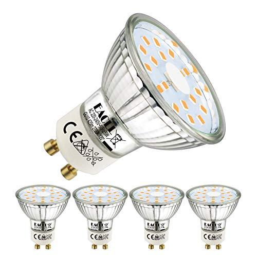 EACLL GU10 LED 5W 2700K Warmweiss Leuchtmittel 425 Lumen Birnen kann Ersetzen 50W Halogen. AC 230V Flimmerfrei Strahler, Abstrahlwinkel 120 ° Spotleuchten, Warmweiß Licht Reflektor Lampen, 4 Pack