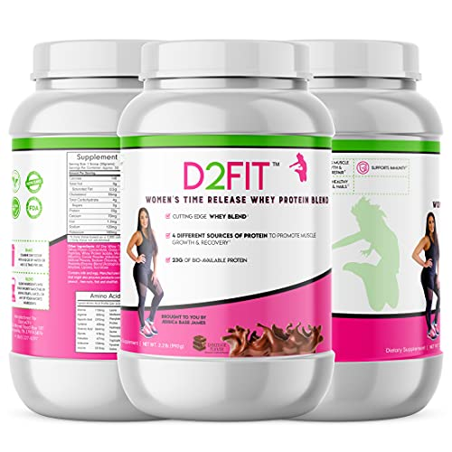 D2Fit (by Jessica Bass) Women's Time Release Whey Protein Blend, 4...