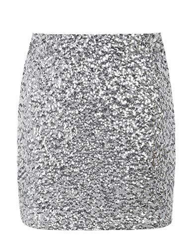 PrettyGuide Women's Short Sequin Skirt Night Out Stretchy Glitter Bodycon Mini Skirt S Silver