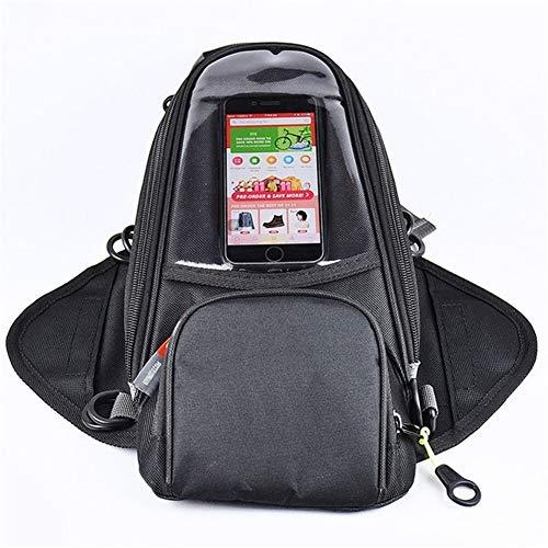 Motorbike Bag Motorcycle Tank Bag Bag Magnet Fixed Straps Biker Oxford Waterproof Saddle Bag Luggage (Size : Black)