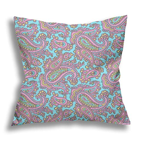 Ramona Paisley Azure Flax Pillow Case Decorative Pillow Cushion Cover for Sofa Chair Bed Car Home Office Decor 45x45 cm