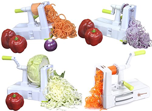 Brieftons 5-Blade Spiralizer (BR-5B-02): Strongest-and-Heaviest Duty Vegetable Spiral Slicer, Best Veggie Pasta…
