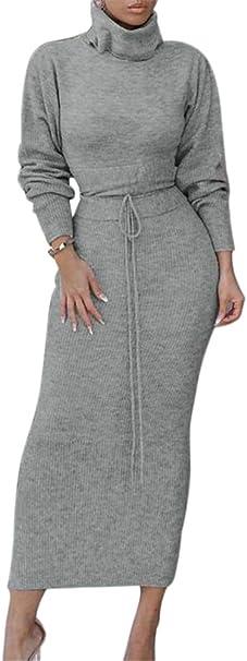 ORANDESIGNE Damen Strickkleid Zweiteiliger Anzug Pullover Oberteil und Midi Strickrock Bodycon 2 St/ück Set Midikleid Rollkragen Pulloverkleid