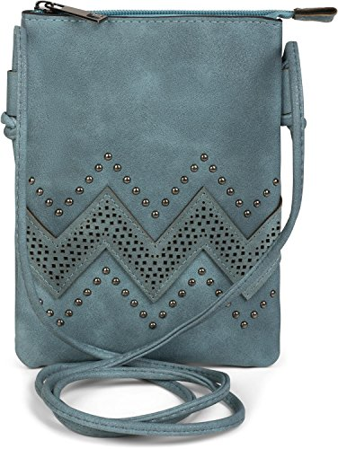 styleBREAKER minibolso de bandolera con motivo recortado en zigzag y remaches, bolso de hombro, bolso, de señora 02012211, color:Azul jean