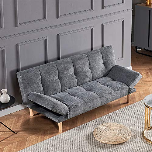HomeSailing Linen Fabric 2 Seaters Folding Sofa Bed Recliner Couch Bed with Solid Wood Legs Settee Bed Small Space Sofa Bed for Living Room Office Reception Room