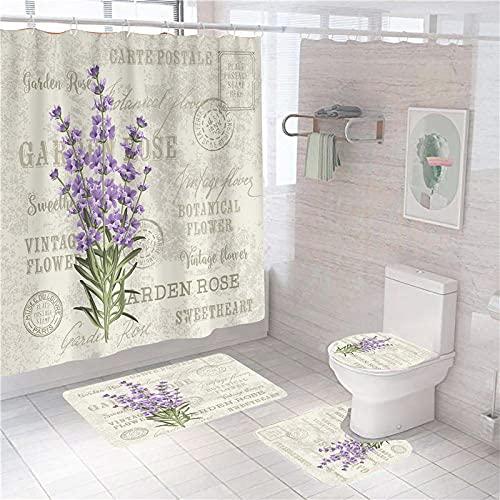 Juego de Cortina de Ducha Impermeable Flores de Lavanda Alfabeto púrpura Caqui Cortina De Baño Impermeable, Juego De Alfombrillas para Inodoro,180 × 200 cm