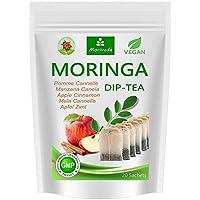 Té de Moringa 100% natural y vegano (opcionalmente Moringa-mezcla de hojas, manzana-canela, granada, jengibre, menta). 1A Calidad (20 bolsitas de té Moringa-Manzana-Canela)