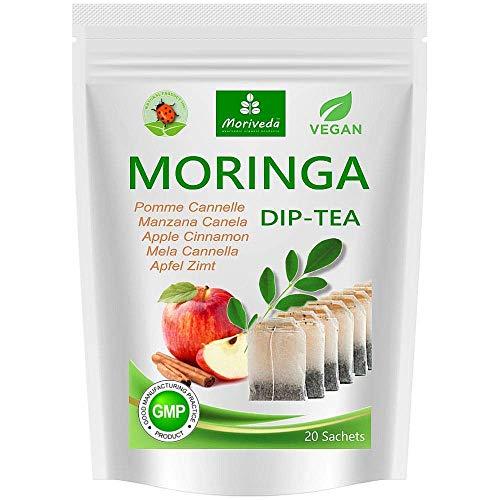 """Moringa thee 100% natuurlijk (naar keuze kruidenmix, appel-kaneel, granaatappel, gember, munt). Kwaliteitsproduct van MoriVeda 20 Beutel """"Moringa + Apfel-Zimt"""""""