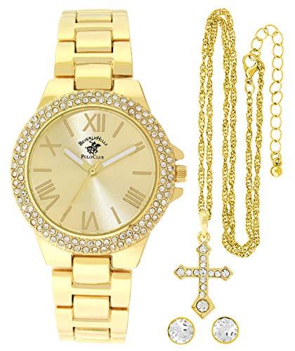 Beverley Hills Polo Club - Reloj de cuarzo para mujer, color dorado