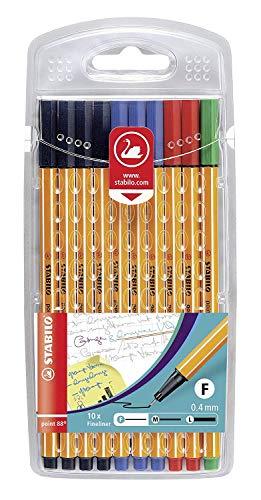 Fineliner - STABILO point 88 - 10er Pack Office - 4 x schwarz, 3 x blau, 2 x rot, 1 x grün