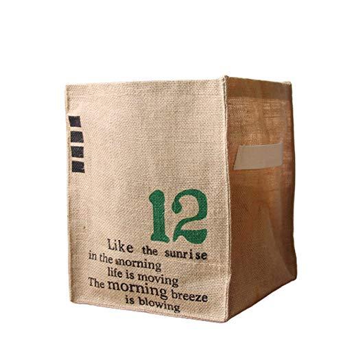 Caja de Almacenamiento de Yute Plegable, Almacenamiento de Suministros de Oficina Diarios, Bolsas de Almacenamiento de Gran Capacidad para Ropa para el hogar y canas Green