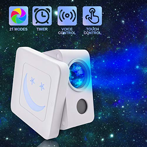Qxmcov Sternenhimmel Projektor, LED Projektor Nachtlicht mit 21 Modi, Automatischer Timer-Abschaltung und Touch-Design, Dekoration für Zuhause und Party, Geschenk für Kinder, Liebhaber, Freund