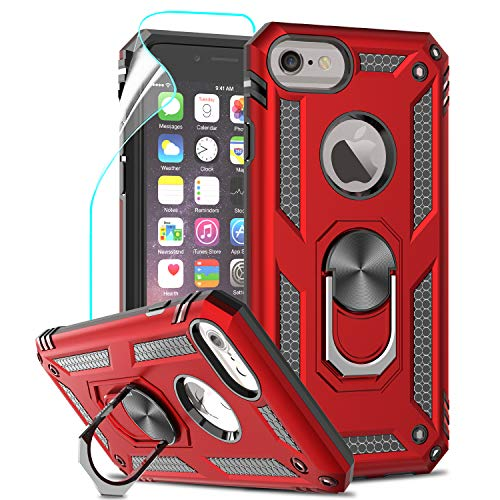 LeYi Funda iPhone 6 / 6S / 7/8 Armor Carcasa con 360 Anillo iman Soporte Hard PC y Silicona TPU Bumper antigolpes Fundas Carcasas Case para movil iPhone 7/8 con HD Protector de Pantalla, color Rojo