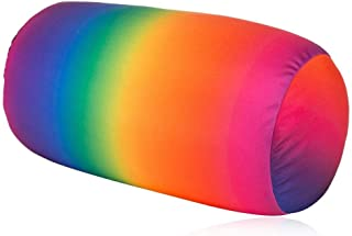 "Focustree Neck Roll Pillow Tube Microbead Pillows 7"" x 12"" Squishy Soft/Flexible/Hypoallergenic/Extremely Comfortable Round Pillow (Rainbow)"