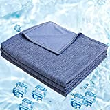 Lightweight Summer Cooling Blanket for Hot Sleeper Twin Size, Cool Blankets for Sleeping, Thin Cold Blanket for Sleeping Hot Flashes Night Sweats, Soft Cooling Summer Blanket for Bed, 59x79, Blue