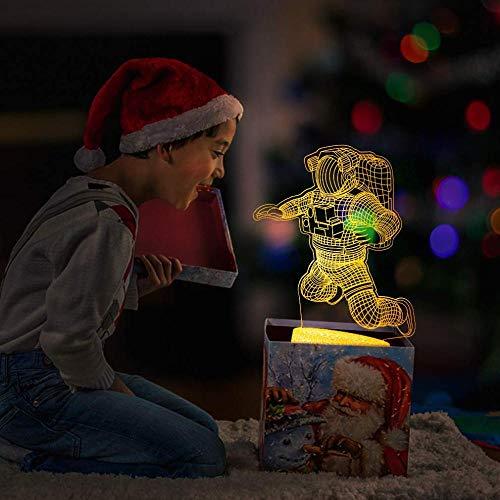 Baby Spielzeug Astronaut 3D Lampe Dimmbares 3D Nachtlicht 16 Farben Ändern von Kindergeschenken mit Fernbedienung LED Spaceman Rocket Illusion Lampe für Home Decor Game Kinder