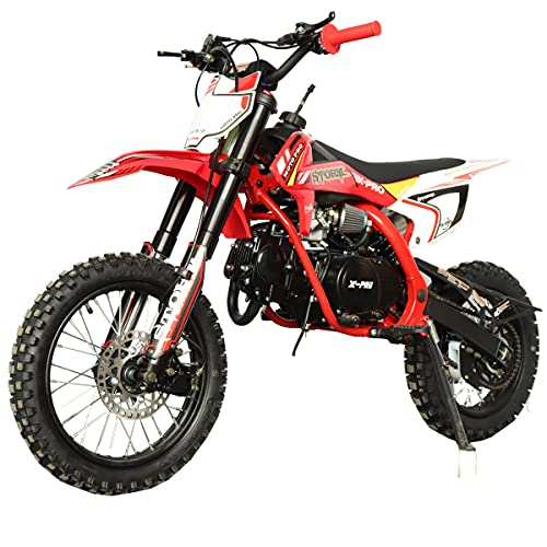 X-PRO Storm 125cc Zongshen Engine Kids Dirt Bike Pit Bike Youth Dirt Pit Bike with 4-Speed Manual Transmission, Big 14'/12' Tires! (Red)