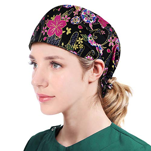 Printed Chef Hat Adjustable Cooking Hat Elastic Kitchen Fashion Sleep Cap Beanie Slap Hat for Women Men Black