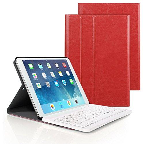 Besmall Tastiera di Lingua Italiana Bluetooth Wireless Rimovibile per iPad 9.7 2018/iPad 9.7 2017/iPad Air 2 Air 1/iPad Pro 9.7 + Custodia Cover Protettiva in Pelle Sintetica -Rosso