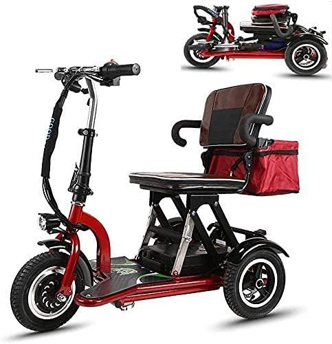 CYGGL Scooter Minusvalidos,Scooter Eléctrico de 3 Ruedas,discapacitados, Desmontable, Manillar Plegable, Personas con Movilidad Reducida, Motor de 300W 30-55 km (MLF20210808-55KM)