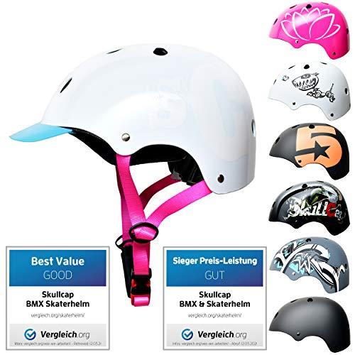 SkullCap Kids BMX & Skate Helmet - Bicicleta Y Scooter Eléctrico, Diseño: SC Pink, Talla: S