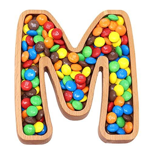 The Mammoth Design Plato De Dulces Letra De Madera M | Cuenco de la Tuerca del Monograma | Plato de la porción del bocado | Display Decorativo, Accesorio | Fiesta de cumpleaños | Pequeña