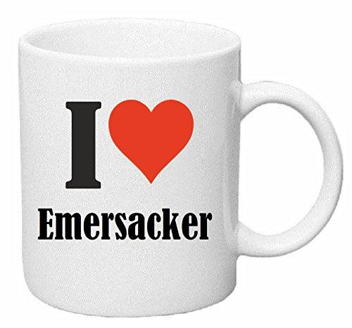 Reifen-Markt Kaffeetasse I Love Emersacker Keramik Höhe 9,5cm ⌀ 8cm in Weiß