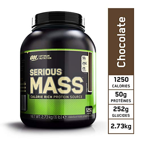 Optimum Nutrition Serious Mass, Mass Gainer Whey, Proteines Musculation Prise de Masse avec Vitamines, Creatine et Glutamine, Chocolat, 8 Portions, 2.73kg