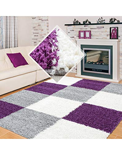 Carpet 1001 Pelo Largo Peluda Sala de Estar Alfombra Shaggy Altura del Hilo de 3cm en la Jaula Purple White Grey - 160x230 cm