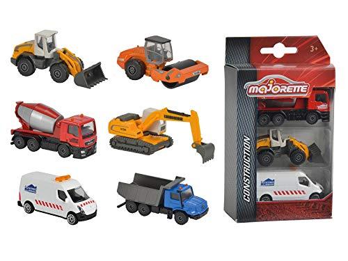 Majorette Construction 3er Set, Baufahrzeuge, Nutzfahrzeuge, Freilauf, bewegliche Teile, Spielzeugautos, Lieferung: 1 x 3er Set, zufällige Auswahl, 7,5 cm