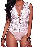 Mono de Encaje Mujer Verano Body sin Mangas Escote en V sin Respaldo Transparente Bodysuit Elegante Tops Traje de Mujer para Casual Fiesta Playa (Blanco, L)