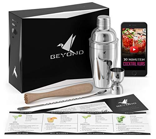 Beyond Cocktail Shaker Set mit Videokurs - Edelstahl Cocktail Set mit Bar Zubehör in Geschenkbox - Mixer mit Sieb, Messbecher, Jigger, Stössel, Löffel - Edles Cocktailmixer Barset - Cocktailshaker Set