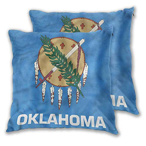 Throw Pillow American Living Room Bedroom car Decoration Native Americans Oklahoma W13 xL13 Beautifully Decorated Square Scarf Pillowcase for Home Decoration, Set of 2,