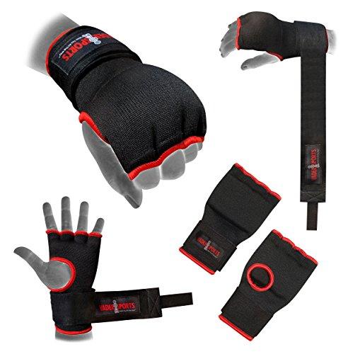 V.Sports Pro Training Boxhandschuhe Gel Innenhandschuhe Handbandage schwarz gepolsterte Bandagen Handschuhe Boxen MMA Quick Handbandagen Faustschutz (klein/Kinder 9–12 Jahre)